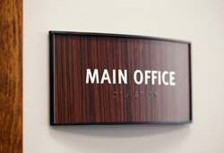 Main Office Sign Curved Wood Insert