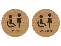 Accessible Restroom Sign Modern Bamboo