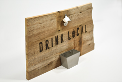 Routed State Shape Bottle Openers from Reclaimed Wood with Metal Catching Tray