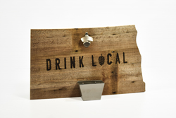 North Dakota State Reclaimed Wood Bottle Opener with Catching Tray