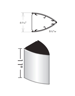 Curved Triangular Projecting Frame Dimensions