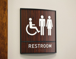 Restroom Sign Wood with Braille