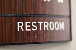 Restroom Curved Wood Sign with Braille