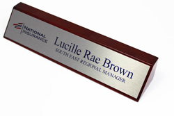 Rosewood Desk Sign with Piano Finish and Customizable Brushed Aluminum Plate