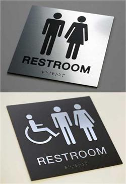 Braille Restroom Sign ADA Grade 2