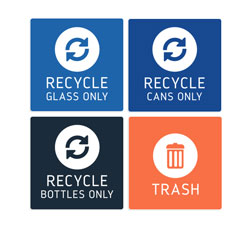 Trash Signs and Recycle Signs for Receptacles
