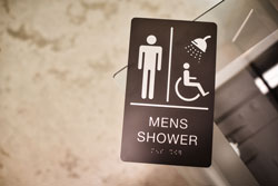 ADA SHOWER Sign with Grade 2 Braille and Tactile Text