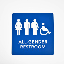Gender Neutral ADA Compliant Braille Bathroom Signs with Raised Text