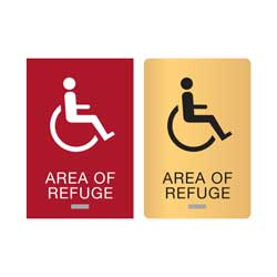 Area of Refuge ADA Compliant Braille Signs with Wheelchair Graphic