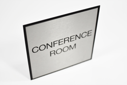 Brushed Metal Low Profile Conference Room Signs with Black Border