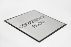 Brushed Metal Slim Conference Room Signs with Black Trim