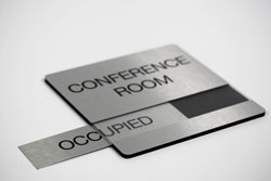Brushed Aluminum Conference Room Sign with Changeable Metal Availability Insert