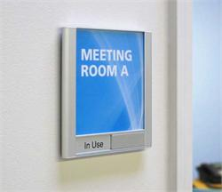 Sliding Conference Room Sign with Clear Removable Lens for Custom Inserts and Messages