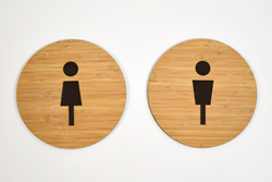 Laser Engraved Wood Bathroom Signs with Graphics