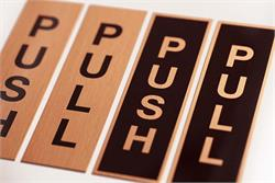 Real Copper Push Pull Sign Set