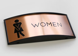 Contemporary Metal Restroom Signs