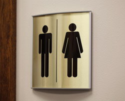 Contemporary Curved Bathroom Signs