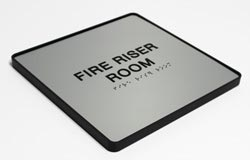 Fire Riser Room ADA Braille Sign with Frame