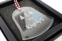 Glass Ornaments with Etched Design