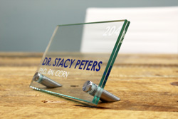 Desk Sign - Glass Desk Name Plates
