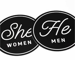 He and She Restroom Signs Set