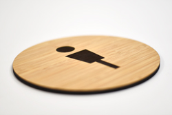 Laser Engraved Graphics on Round Bamboo Contemporary Restroom Signs
