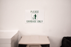 Garbage Only Metal Sign with Color Graphic and Standard Text for Break Rooms and Cafeterias