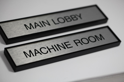 Brushed Aluminum Employee Name Plate with Square Acrylic Frame
