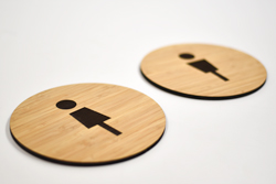 Modern Bamboo Restroom Signs for the Office