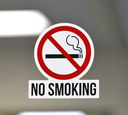 Contour Cut No Smoking Decal With Text