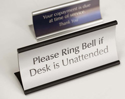 Curved Office Signs - Concave Desk Frame