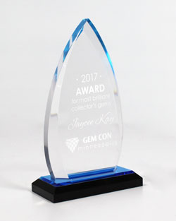 Engraved Clear Oval Award with Blue Tones