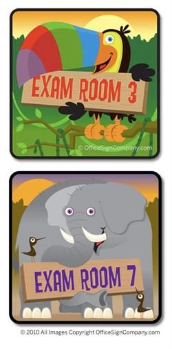 Pediatric Exam Room sign and Jungle Animal signs