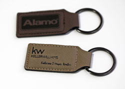 Engraved Leather Keychains Available in Two Colors