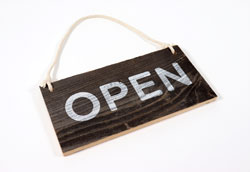Wooden Open Sign with Rope