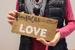Wood Sign Thankful for Love