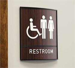 Restroom Signs Curved ADA Wood