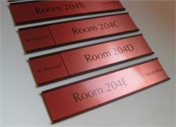 Custom Warm Brown Sliding Sign with Copper Plate