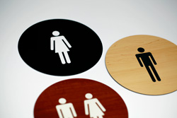 Round Engraved Restroom Signs