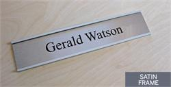 Contemporary office signs in rich satin silver metal