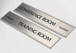 Silver name plates and stylish bankers signs