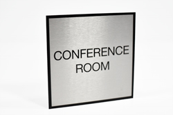 Square Brushed Metal Conference Room Sign with Black Border