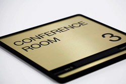 Large Brushed Aluminum Conference Room Signs with Slider to Show Room Status