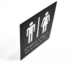 ADA Compliant Staff Restroom Signs with Raised Text and Braille