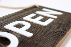 Wooden Open Sign with Raised Text