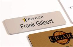 slim name badges with logo