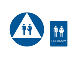 Unisex Restroom California Braille Blue with White Tactile