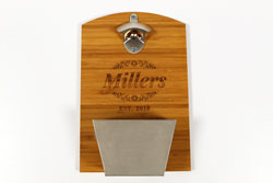 Engraved Bamboo Bottle Opener with Tray
