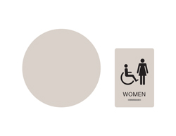 Women's Handicap Accessible Wall and Door Restroom Sign