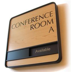 Rich Wood Tone Conference Room Slider Signs